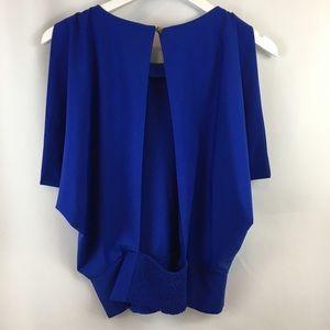 Ark & Co Cobalt Blue Cold Shoulder Open Back Top
